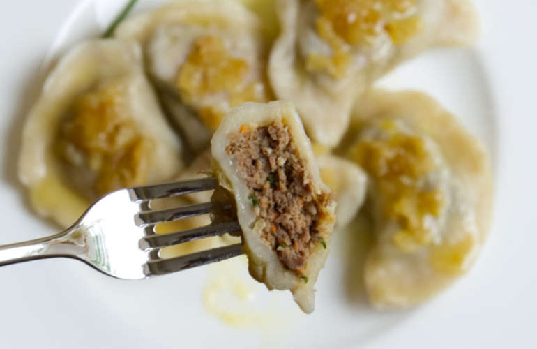 Polish pierogi with meat